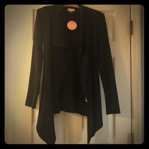 Black belted waterfall cardigan NWT